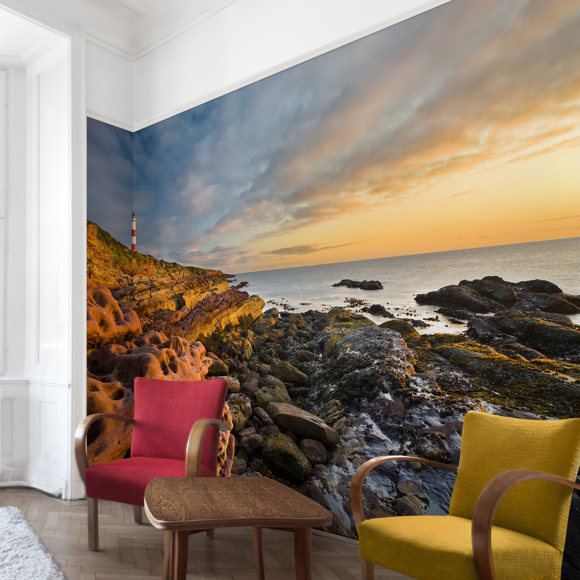 strand fototapete selbstklebend tarbat ness leuchtturm und sonnenuntergang am meer. Black Bedroom Furniture Sets. Home Design Ideas