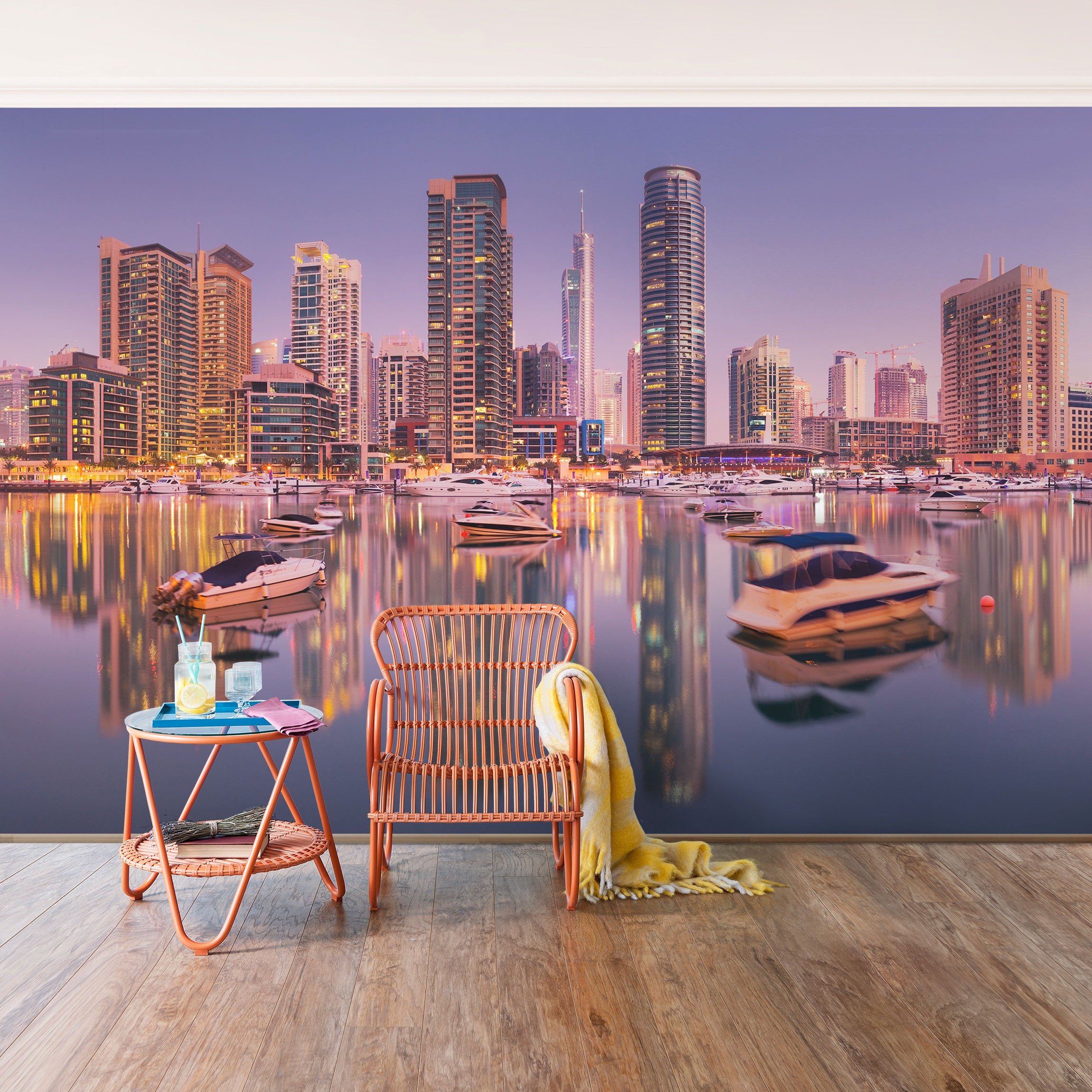 selbstklebende tapete fototapete dubai skyline und marina. Black Bedroom Furniture Sets. Home Design Ideas