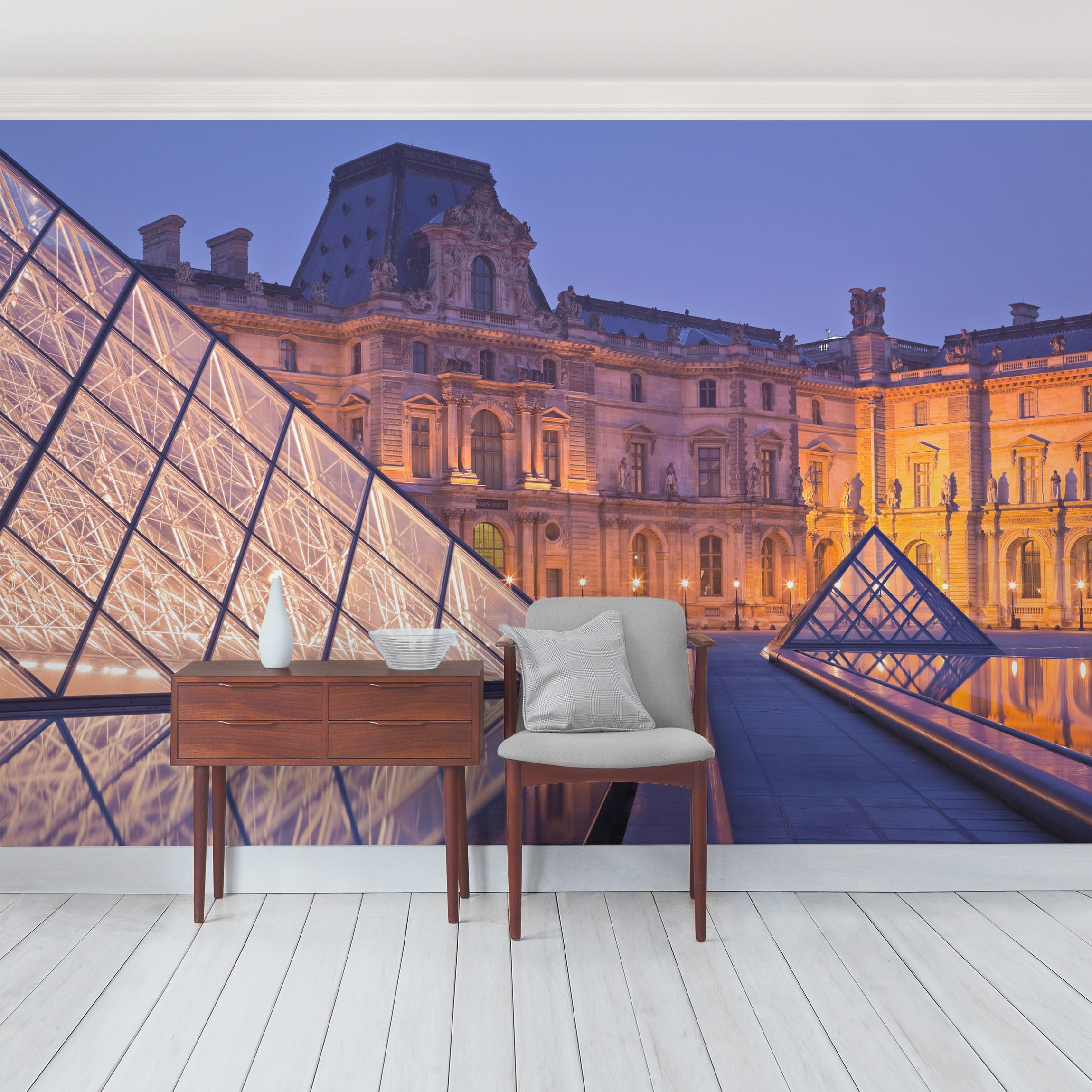 selbstklebende tapete fototapete louvre paris bei nacht. Black Bedroom Furniture Sets. Home Design Ideas