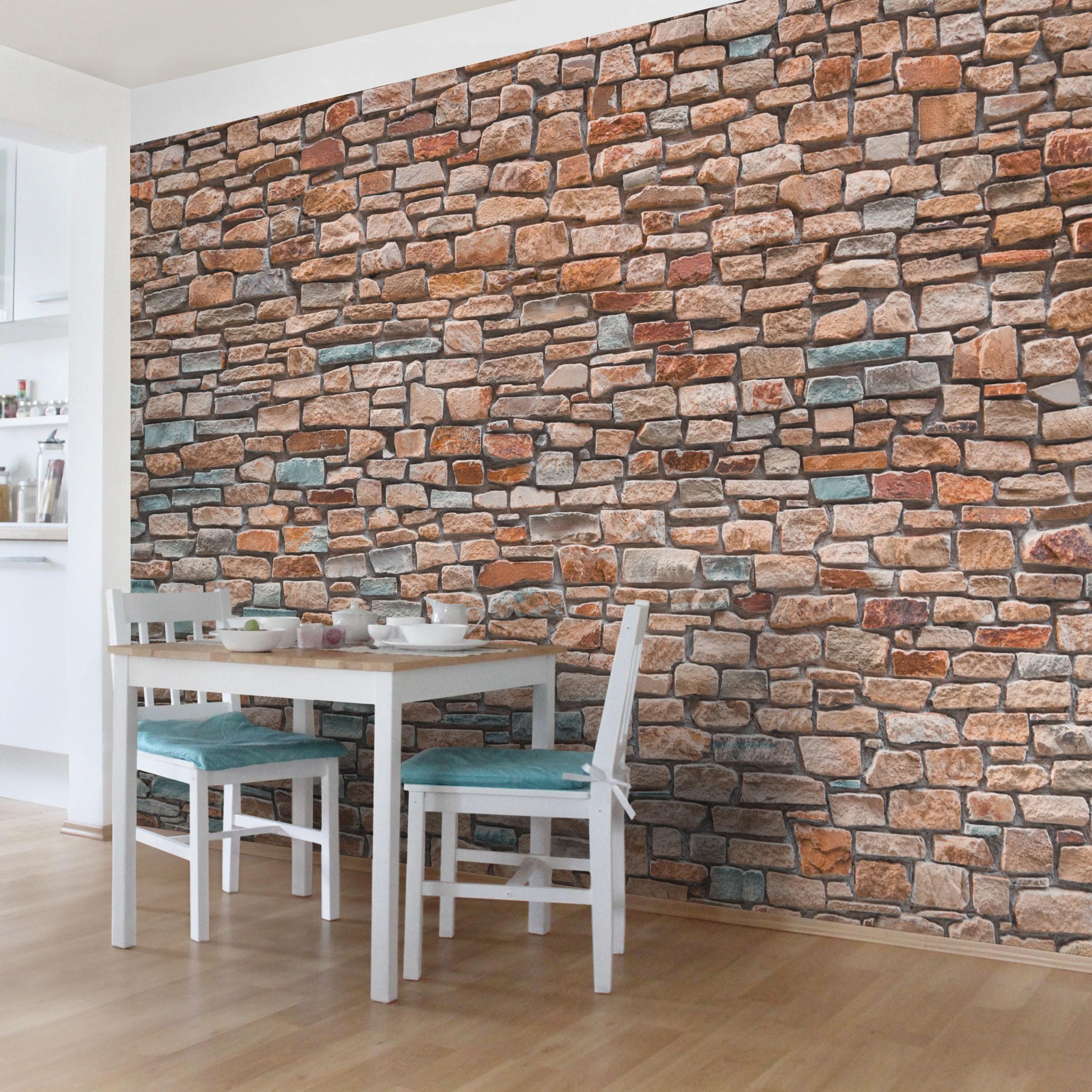 steintapete selbstklebend steinoptik rot t rkis. Black Bedroom Furniture Sets. Home Design Ideas