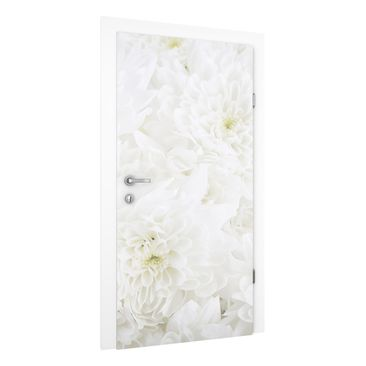 Immagine del prodotto Carta da parati per porte - Dahlias sea of flowers white - 215cm x 96cm