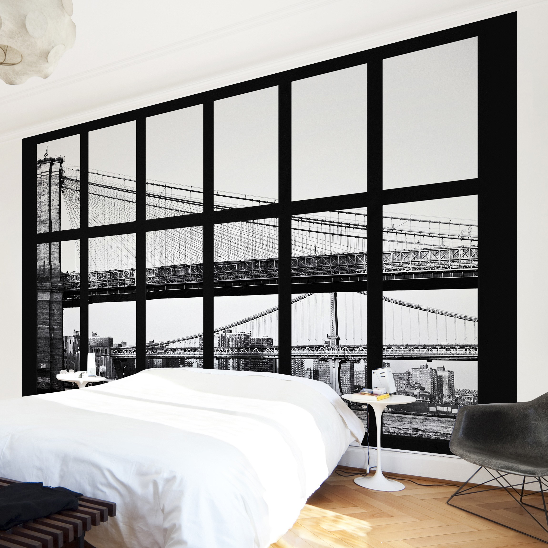 new york fototapete selbstklebend fenster br cken new york. Black Bedroom Furniture Sets. Home Design Ideas