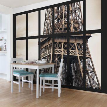 Produktfoto Selbstklebende Paris Tapete - Fenster Eiffelturm Paris