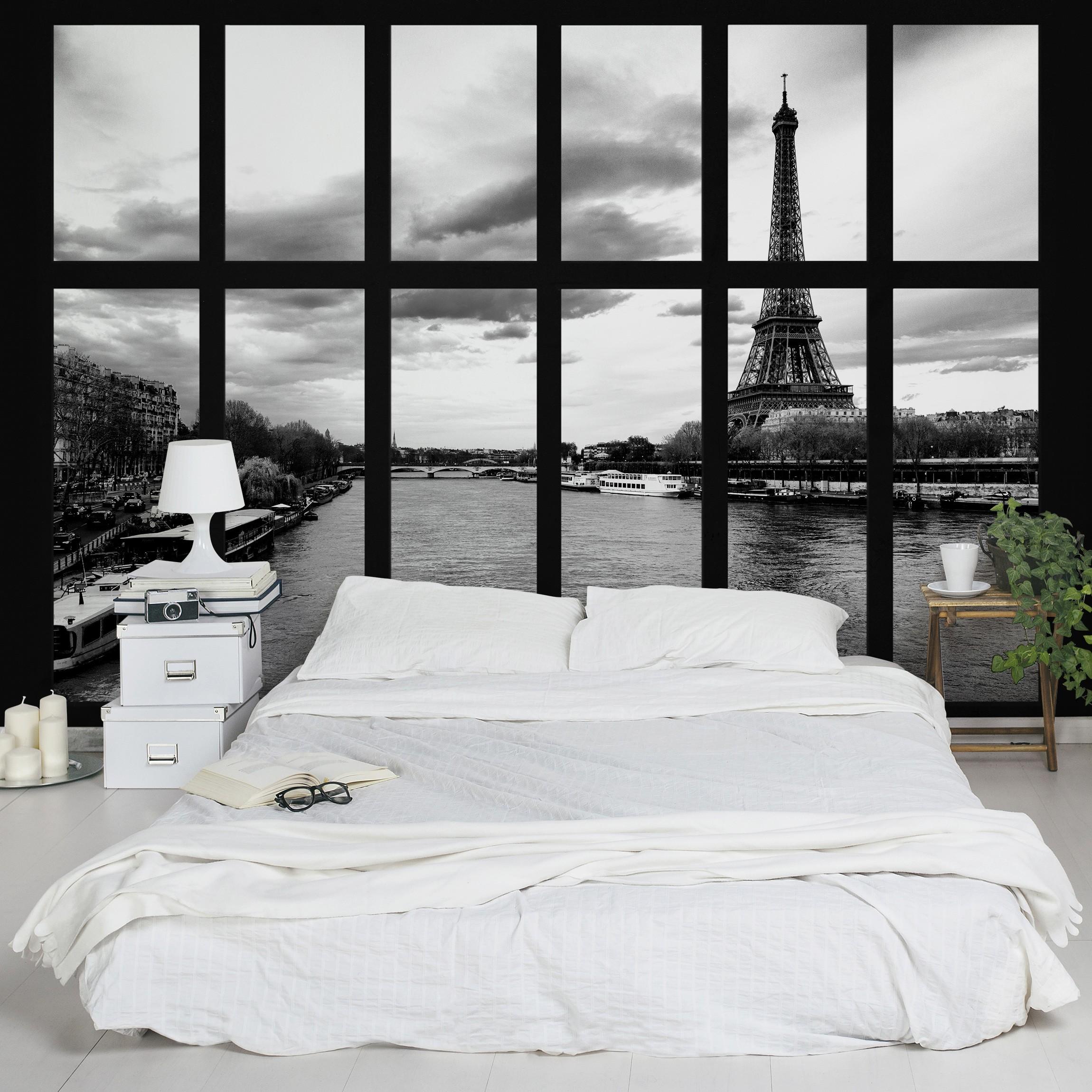 selbstklebende paris tapete fenster eiffelturm seine paris. Black Bedroom Furniture Sets. Home Design Ideas