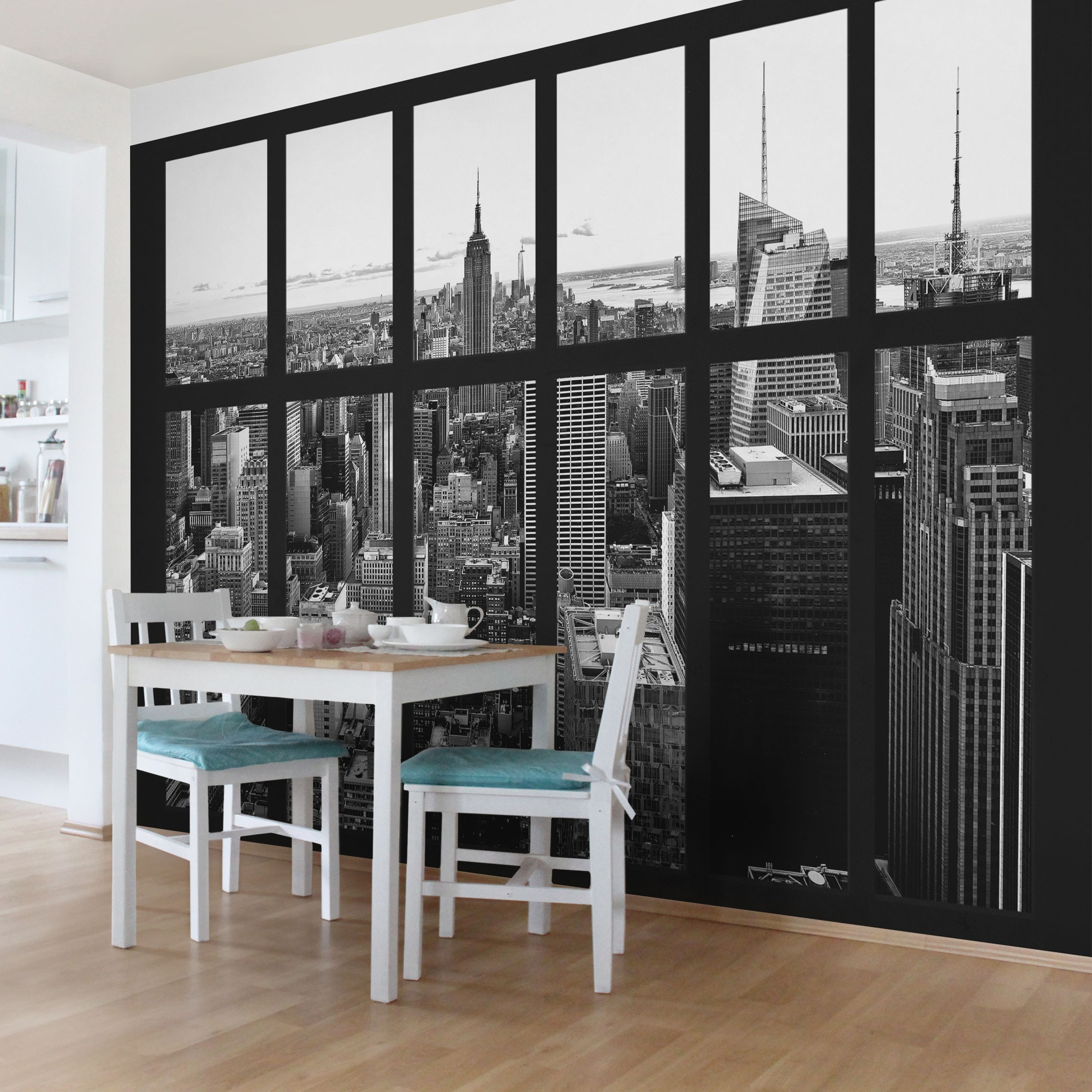new york fototapete selbstklebend fenster manhattan skyline schwarz weiss. Black Bedroom Furniture Sets. Home Design Ideas