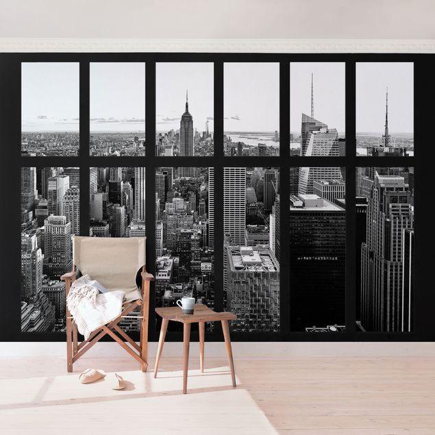 Produktfoto New York Fototapete selbstklebend - Fenster Manhattan Skyline schwarz-weiss