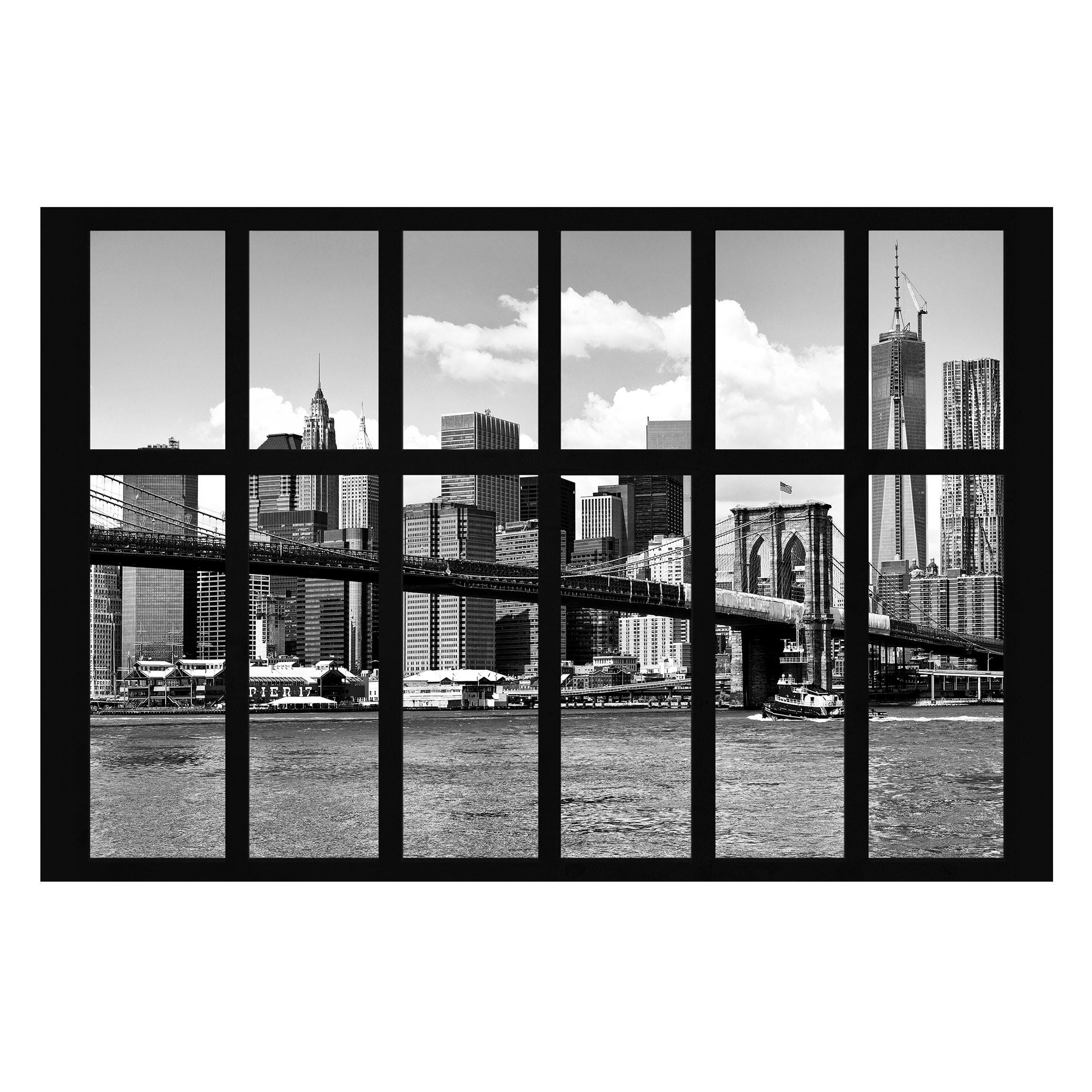 new york fototapete selbstklebend fenster new york brooklyn bridge ii. Black Bedroom Furniture Sets. Home Design Ideas