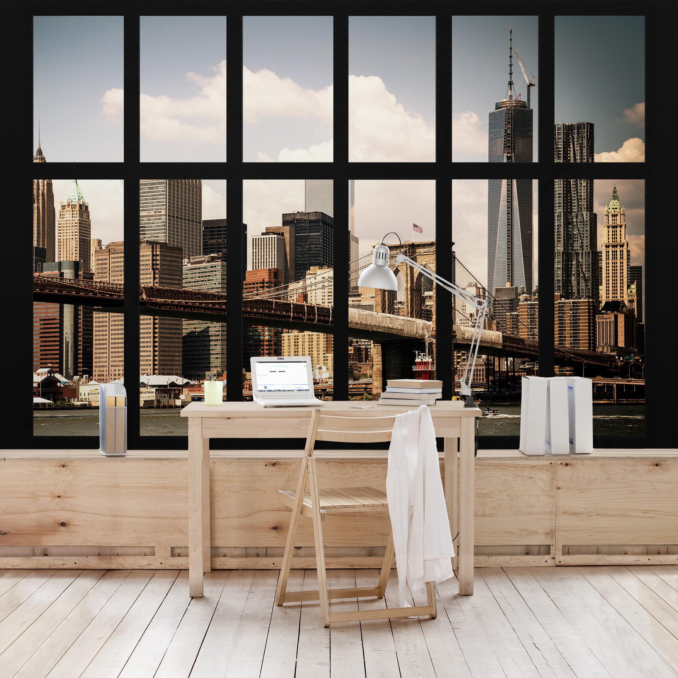 new york fototapete selbstklebend fenster new york brooklyn bridge. Black Bedroom Furniture Sets. Home Design Ideas