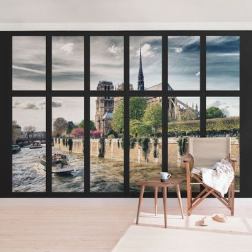 Produktfoto Selbstklebende Paris Tapete - Fenster Notre-Dame Paris