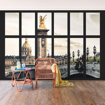 Produktfoto Selbstklebende Paris Tapete - Fenster Pont Alexandre Paris