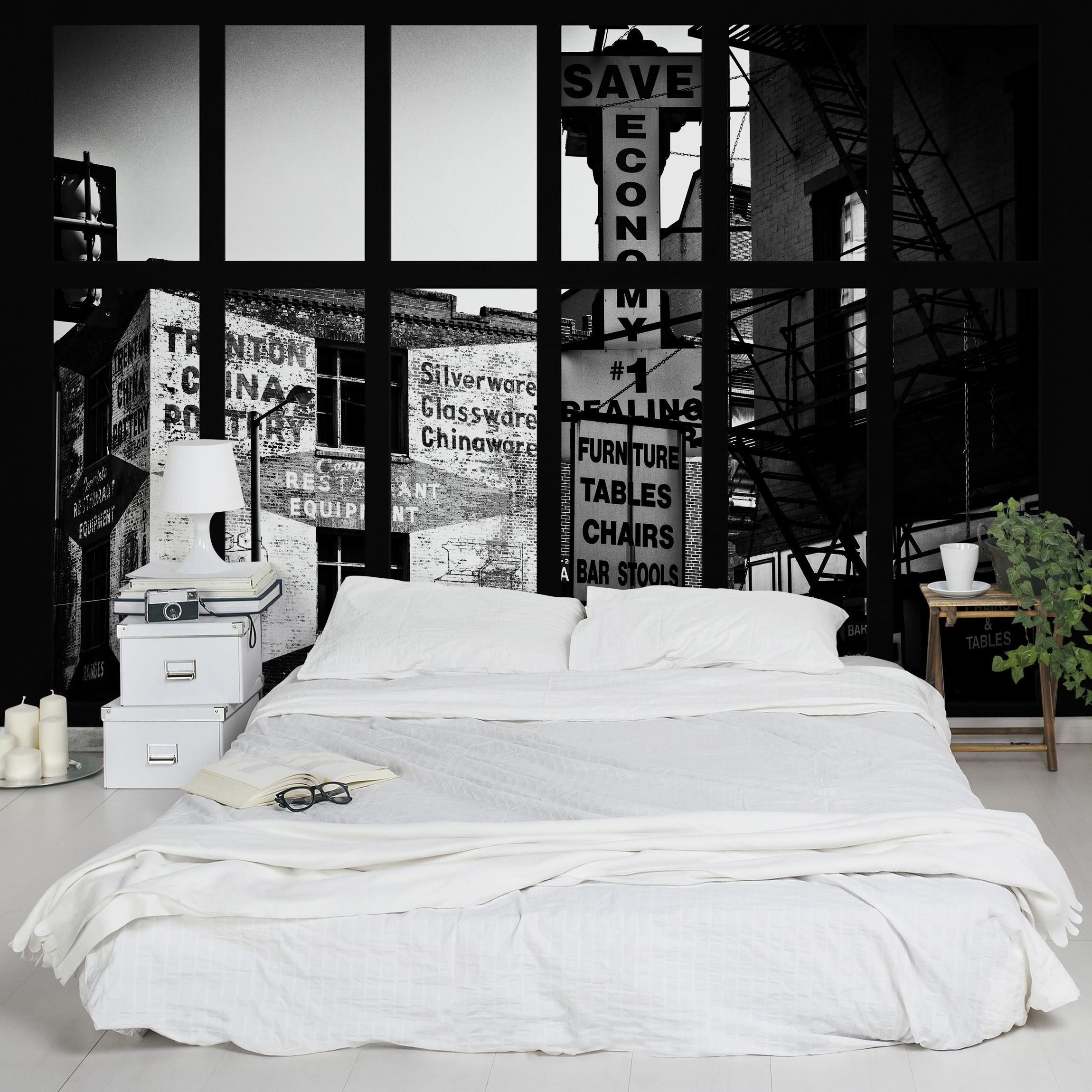 selbstklebende tapete fototapete fensterblick amerikanische geb udefassade schwarz weiss. Black Bedroom Furniture Sets. Home Design Ideas