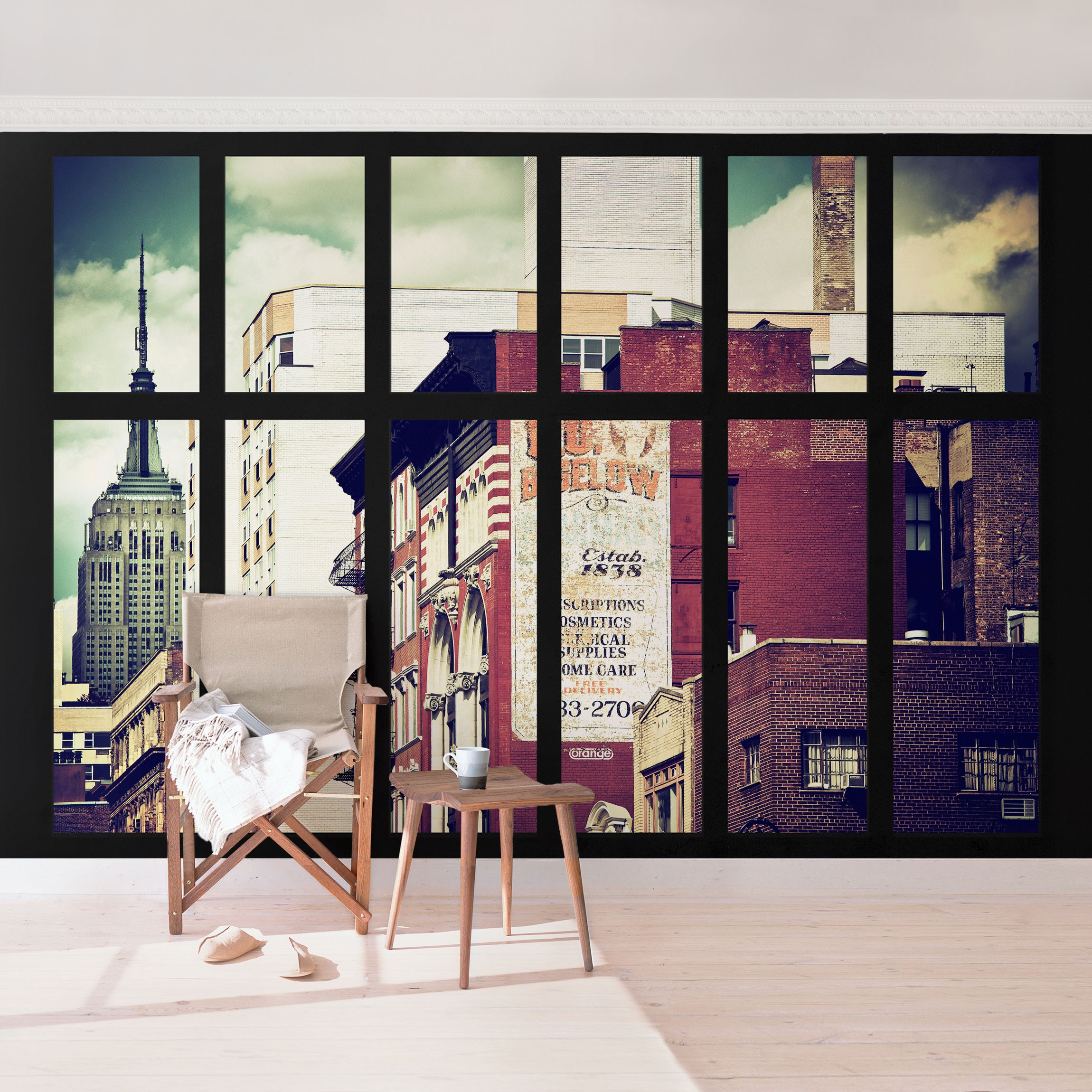 new york fototapete selbstklebend fensterblick auf new york geb ude vintage. Black Bedroom Furniture Sets. Home Design Ideas