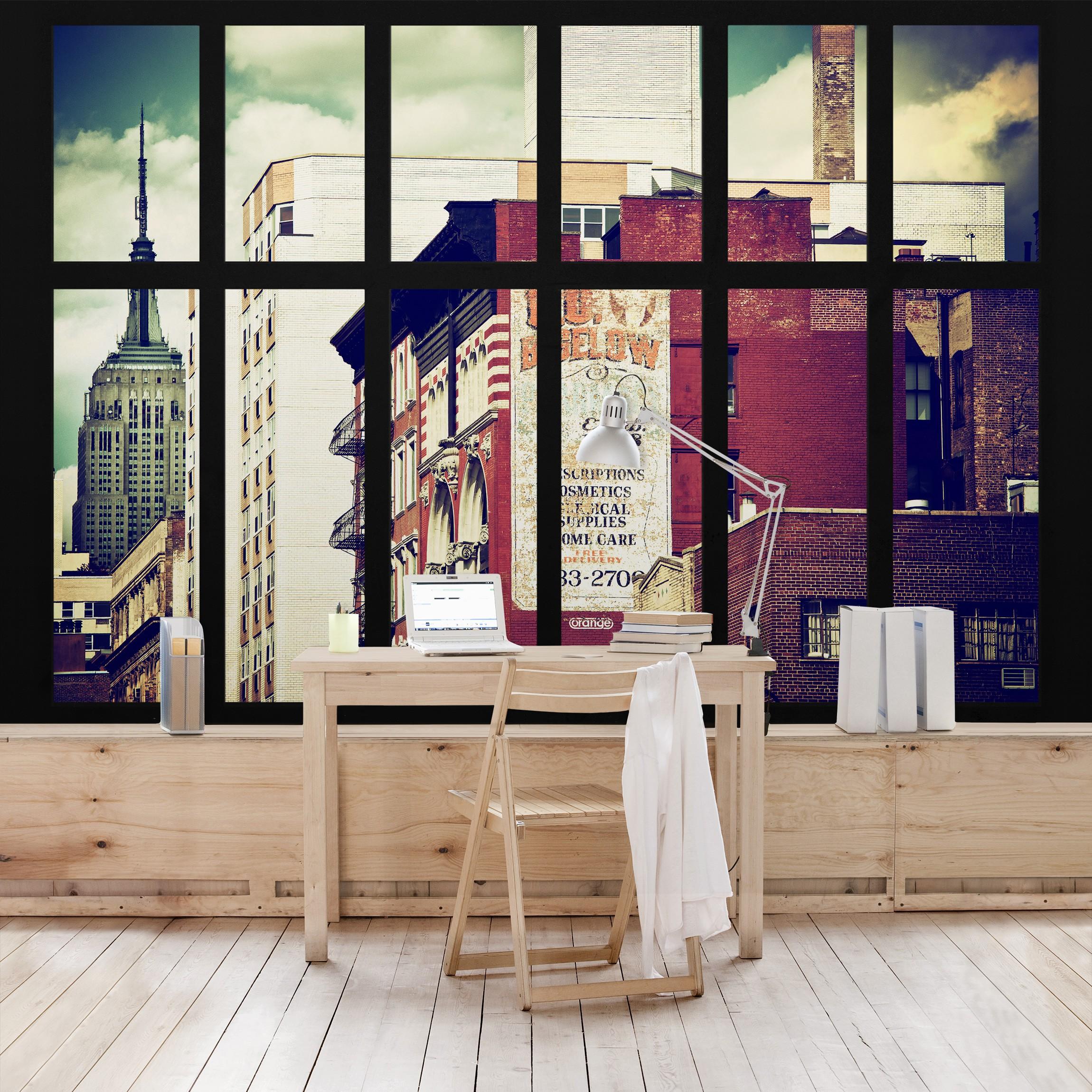 new york fototapete selbstklebend fensterblick auf new york geb ude vintage. Black Bedroom Furniture Sets. Home Design Ideas