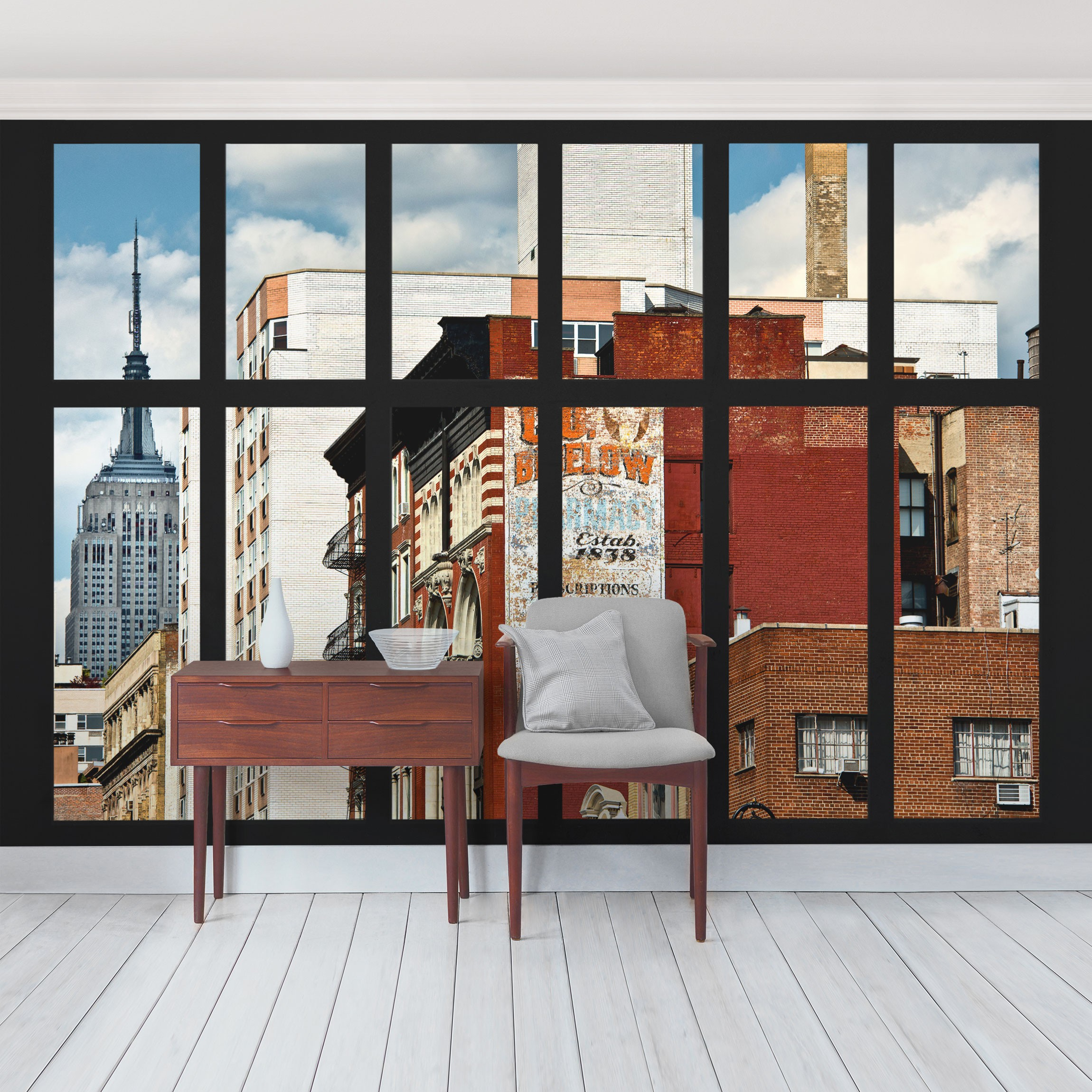 new york fototapete selbstklebend fensterblick auf new york geb ude. Black Bedroom Furniture Sets. Home Design Ideas
