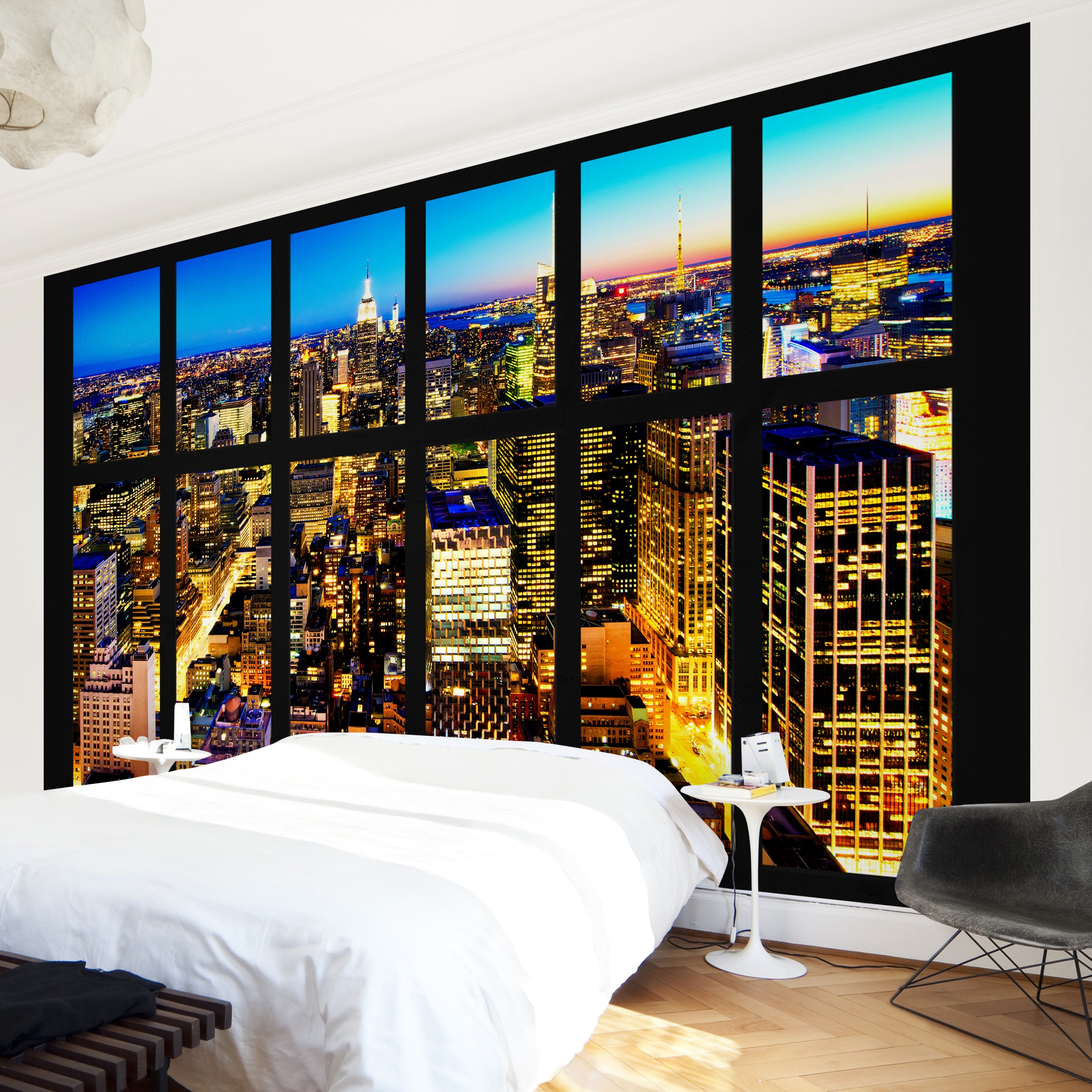 new york fototapete selbstklebend fensterblick manhattan skyline bei nacht. Black Bedroom Furniture Sets. Home Design Ideas