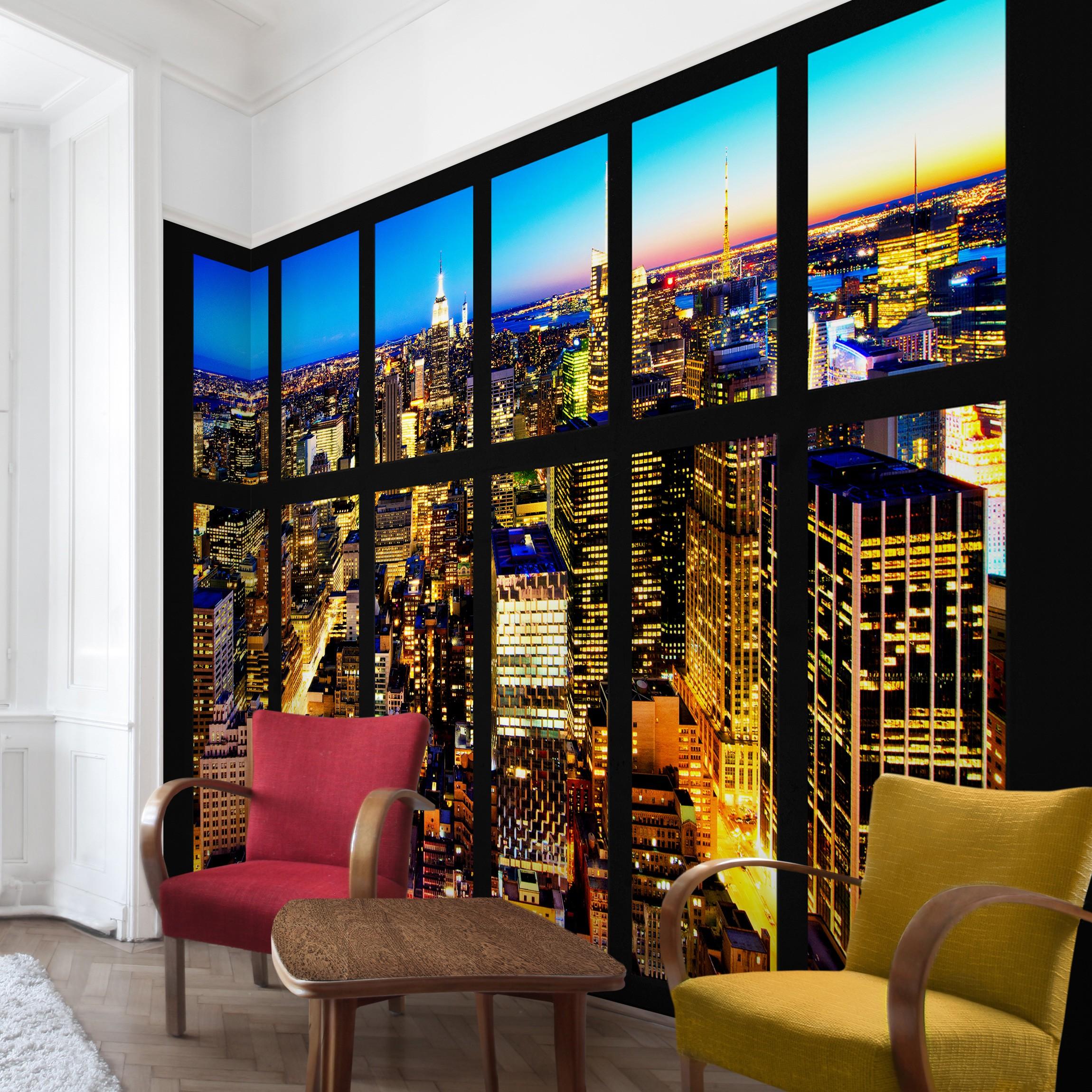 new york fototapete selbstklebend fensterblick manhattan skyline bei nacht. Black Bedroom Furniture Sets. Home Design Ideas