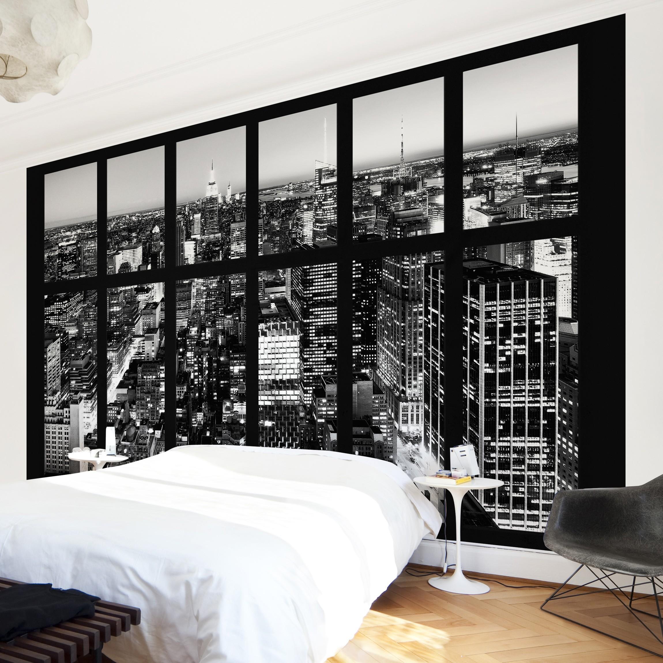 new york fototapete selbstklebend fensterblick manhattan skyline schwarz weiss. Black Bedroom Furniture Sets. Home Design Ideas