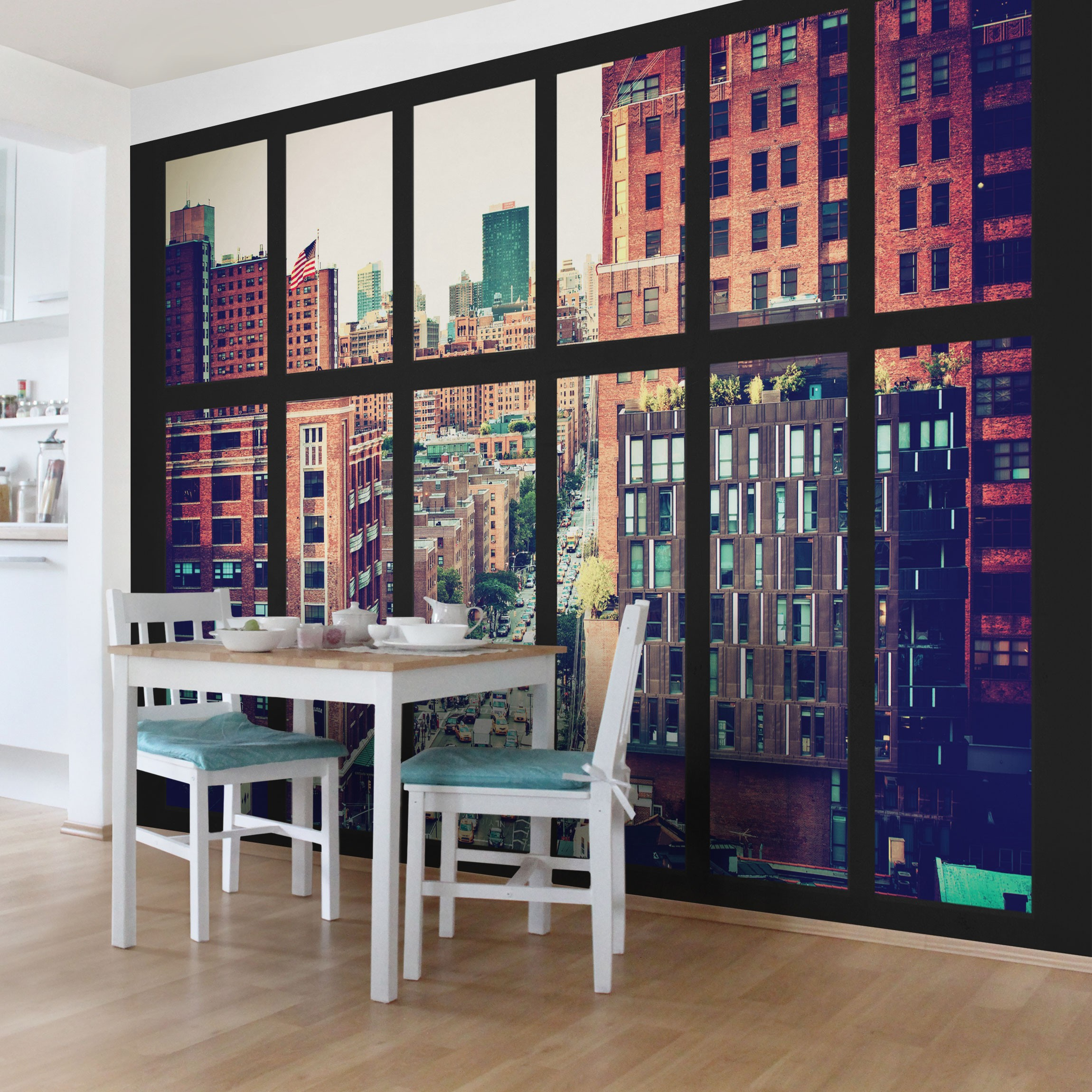 selbstklebende tapete fototapete new york fensterblick iii. Black Bedroom Furniture Sets. Home Design Ideas