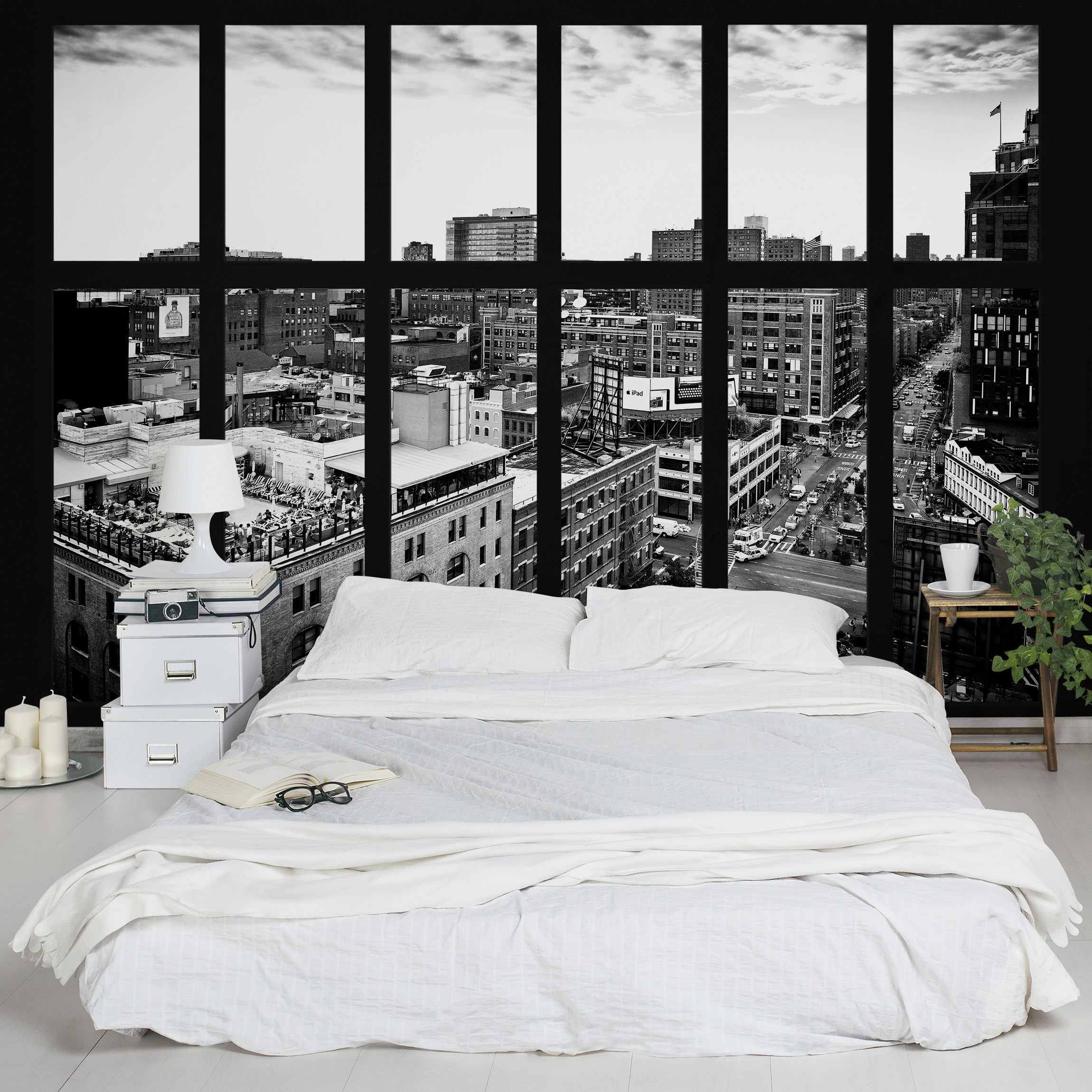 selbstklebende tapete fototapete new york fensterblick schwarz weiss. Black Bedroom Furniture Sets. Home Design Ideas