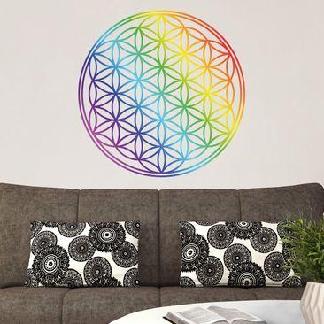 Produktfoto Wandtattoo Blume des Lebens Regenbogenfarbe