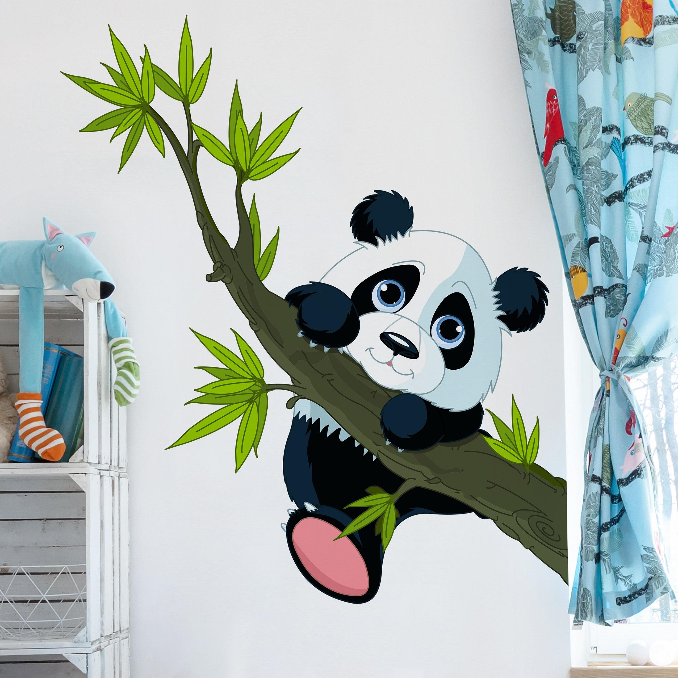 Wandtattoo kinderzimmer kletternder panda for Kinderzimmer wandtatoos