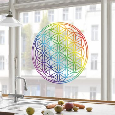 Product picture Window Sticker Flower of Life rainbow...