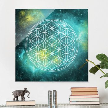 Immagine del prodotto Stampa su vetro - Flower of life in the light of the stars - Quadrato 1:1