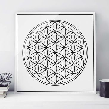 Product picture Print on Glass - Flower of life Black...