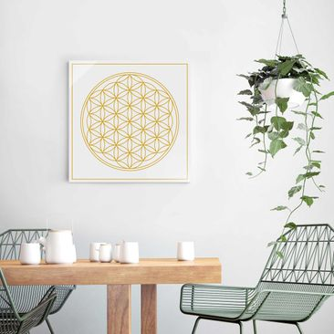 Product picture Print on Glass - Flower of life yellow...