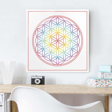 Product picture Print on Glass - Flower of life colorful...