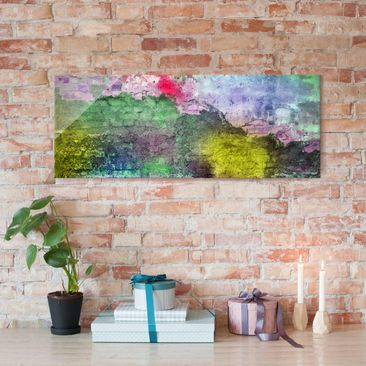 Product picture Print on Glass - Colourful sprayed brick...