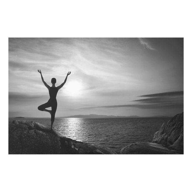 Produktfoto Glasbild - Yoga schwarz weiss - Quer 2:3