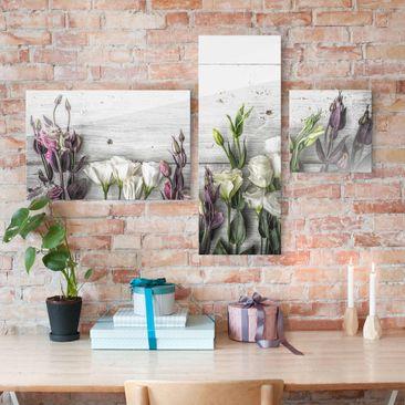 Produktfoto Glasbild mehrteilig - Tulpen-Rose Shabby Holzoptik Collage 3-teilig