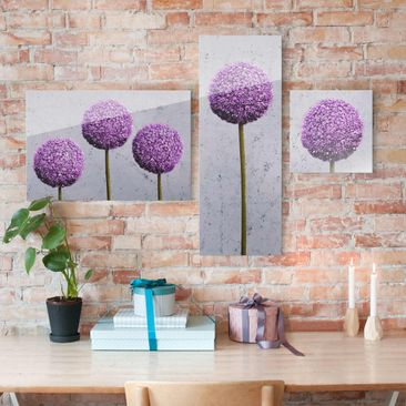 Product picture Glass Wall Art Set 3pcs.- Allium...