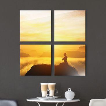 Produktfoto Glasbild mehrteilig - Yoga Meditation...
