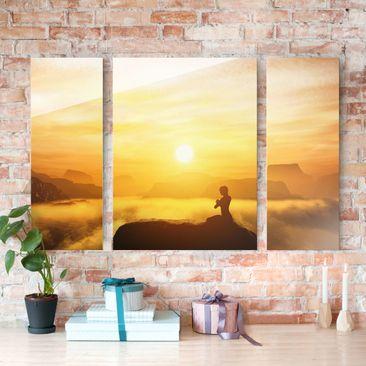 Produktfoto Glasbild mehrteilig - Yoga Meditation 3-teilig