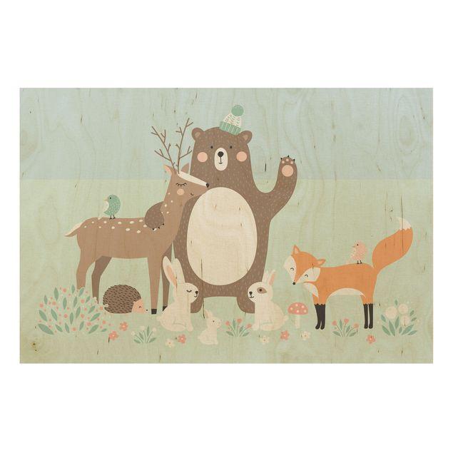 Produktfoto Holzbild - Forest Friends mit Waldtieren blau - Quer 2:3