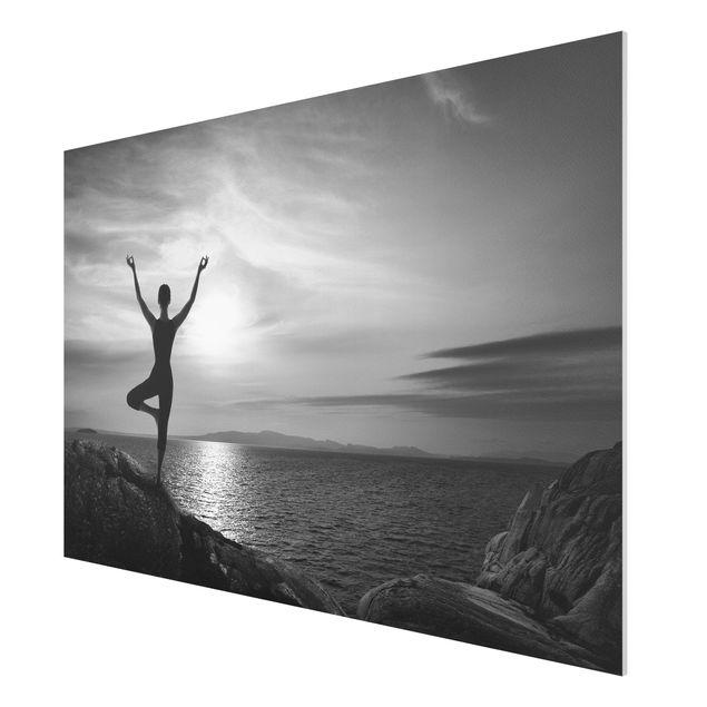 Produktfoto Forex Fine Art Print - Yoga schwarz weiss - Quer 2:3