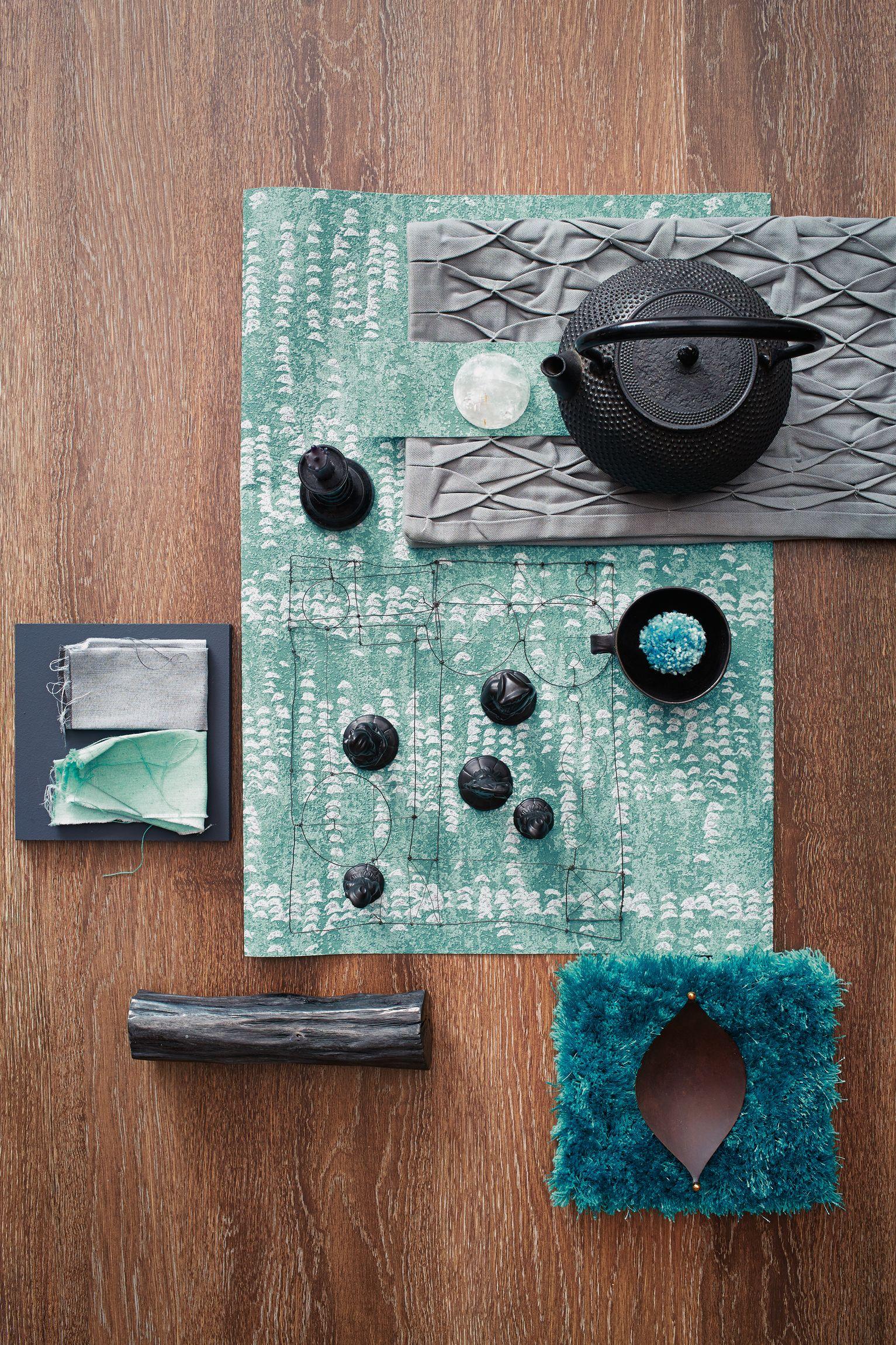 sch ner wohnen tapete avantgarde blau gr n kollektion 7. Black Bedroom Furniture Sets. Home Design Ideas
