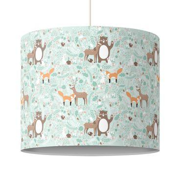 Produktfoto Kinderlampe Kindermuster Forest Friends mit Waldtieren - Lampe - Lampenschirm Bunt