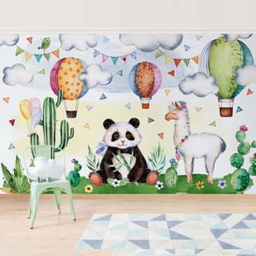 Product picture Self-adhesive Wallpaper - Panda and Lama...