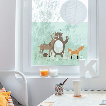 Product picture Window Mural Forest Friends with forest...
