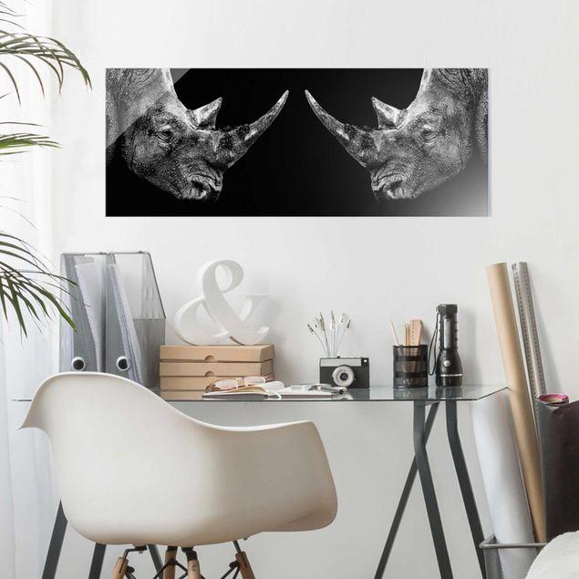 Produktfoto Glasbild - Nashorn Duell - Panorama Quer