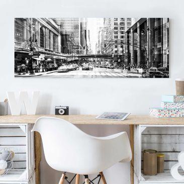 Produktfoto Glasbild - NYC Urban schwarz-weiss -...