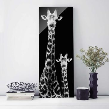 Product picture Print on Glass - Giraffe Duo black-white...