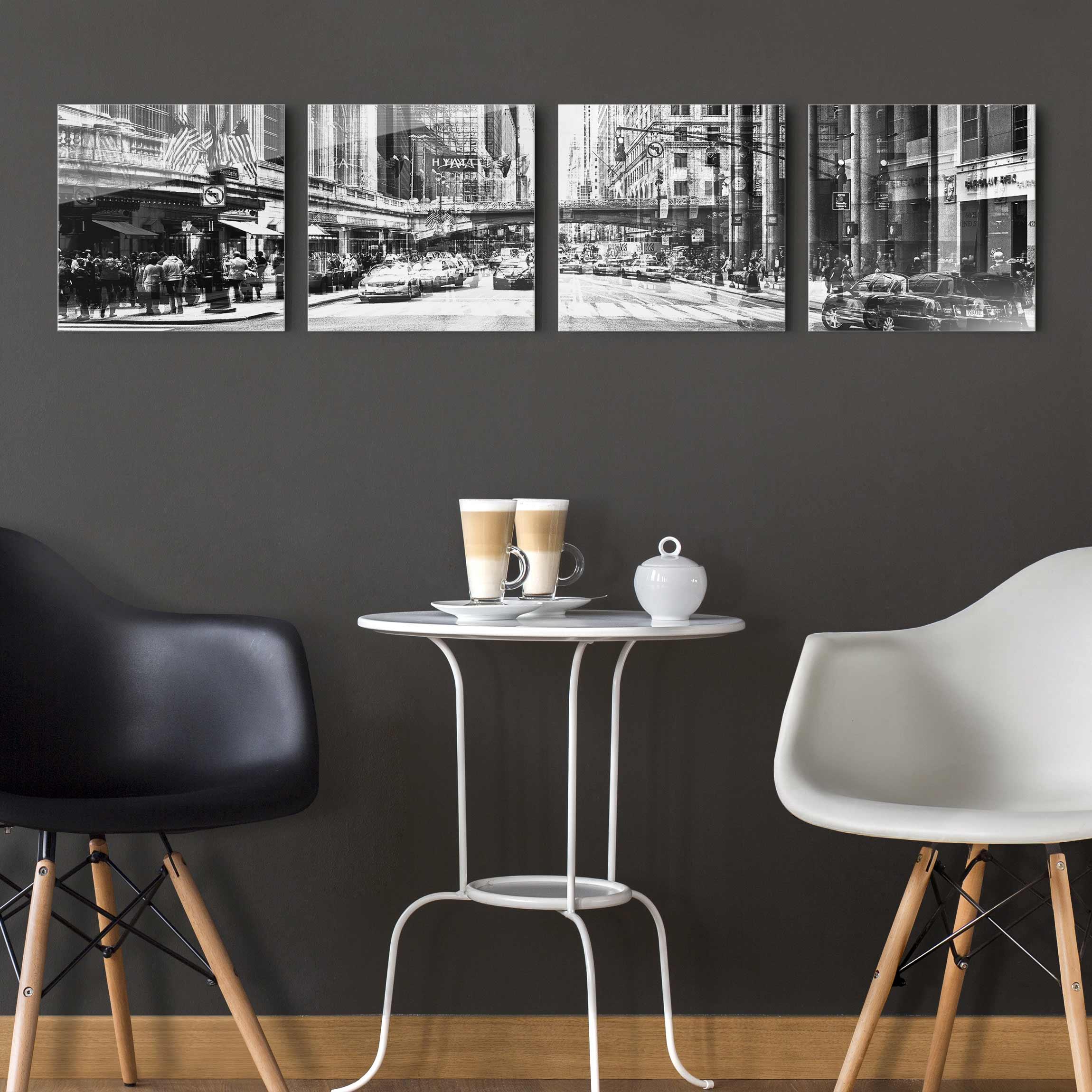 Glasbild Schwarz Weiß : glasbild mehrteilig nyc urban schwarz weiss 4 teilig ~ A.2002-acura-tl-radio.info Haus und Dekorationen