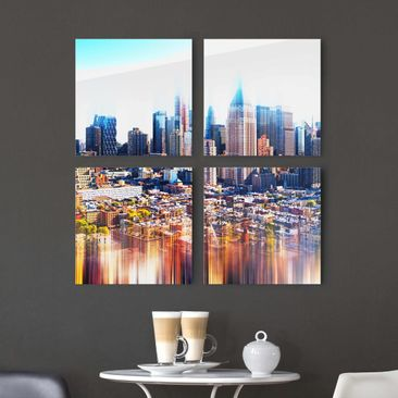 Produktfoto Glasbild mehrteilig - Manhattan Skyline Urban Stretch 4-teilig