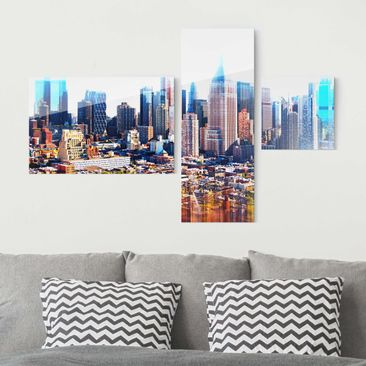 Produktfoto Glasbild mehrteilig - Manhattan Skyline Urban Stretch 3-teilig