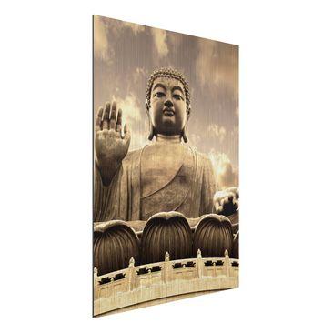 Immagine del prodotto Stampa su alluminio spazzolato - Big Buddha Sepia - Verticale 4:3