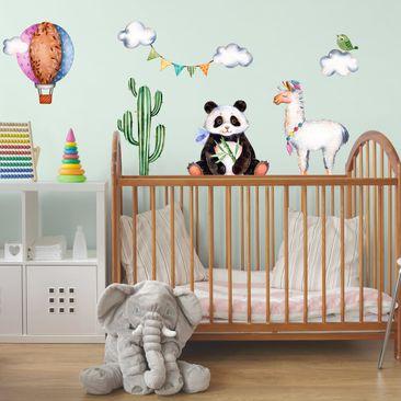 Produktfoto Wandtattoo Kinderzimmer Panda und Lama...